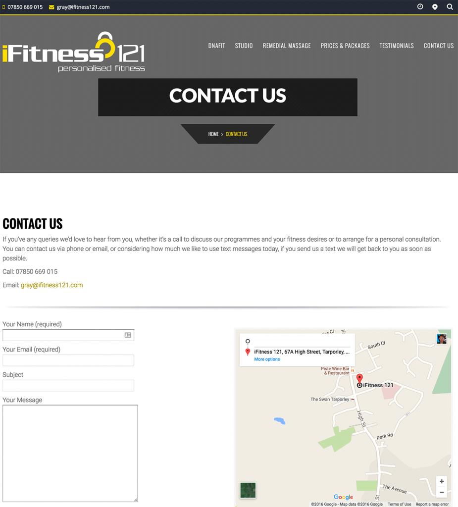 iFitness121 - Contact Page