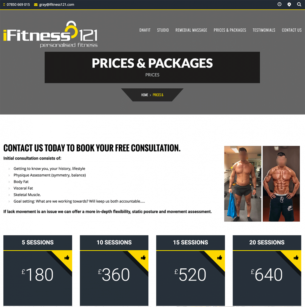 iFitness121 - Sessions Page